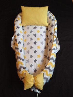 Sarı Gri Büyük Yıldızlı ve Sarı Gri Zigzag Babynest