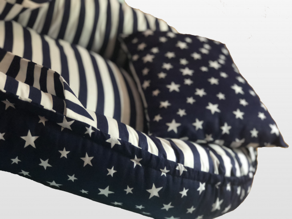 Navy Blue Striped and Navy Blue Double Star Babynest